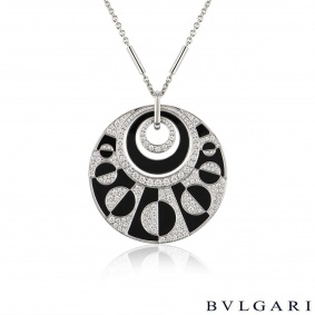 Bvlgari White Gold Diamond & Onyx Intarsio Large Necklace
